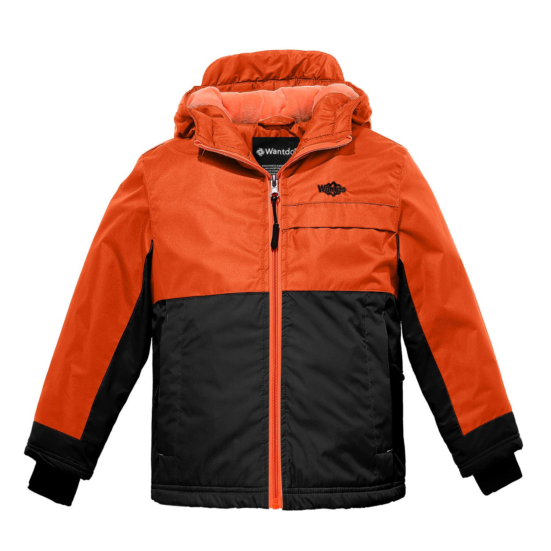 Wantdo Boy's Fleece Lined Jacket Hooded Raincoat Lily Orange Yellow Black 14/16 by Wantdo