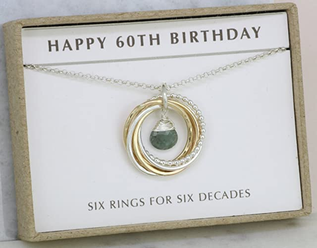 Amazon 60th Birthday Gift For Sister Aquamarine Necklace Wife March Birthstone Jewelry Mother