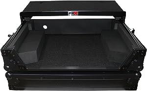 ProX XS-NS6IILTBL Flight Case for Numark NS6II Digital Controller With Sliding Laptop Shelf - Black on Black Design