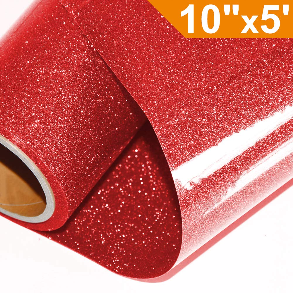 Glitter Heat Transfer Vinyl HTV for T-Shirts 10Inches by 5 Feet Rolls(Red) Ahiky