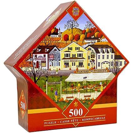 MasterPieces Farmers Market - Pumpkins 500 Piece Diamond Shaped Jigsaw Puzzle by Art Poulin