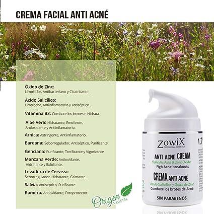 ZOWIX Crema anti acné. Elimina espinillas y granos. Tratamiento facial antiacné natural y efectivo con A. Salicílico y Oxido de Zinc. Todo tipo de ...