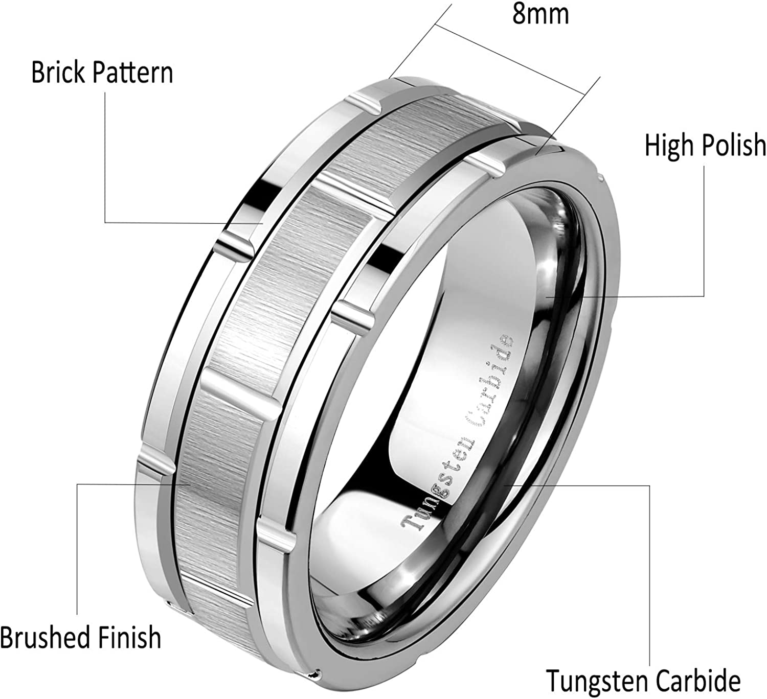 8mm Tungsten Wedding Band Men/'s Tungsten Promise Ring For Men Tungsten Ring Men Personalized Ring Classic High Polish Flat