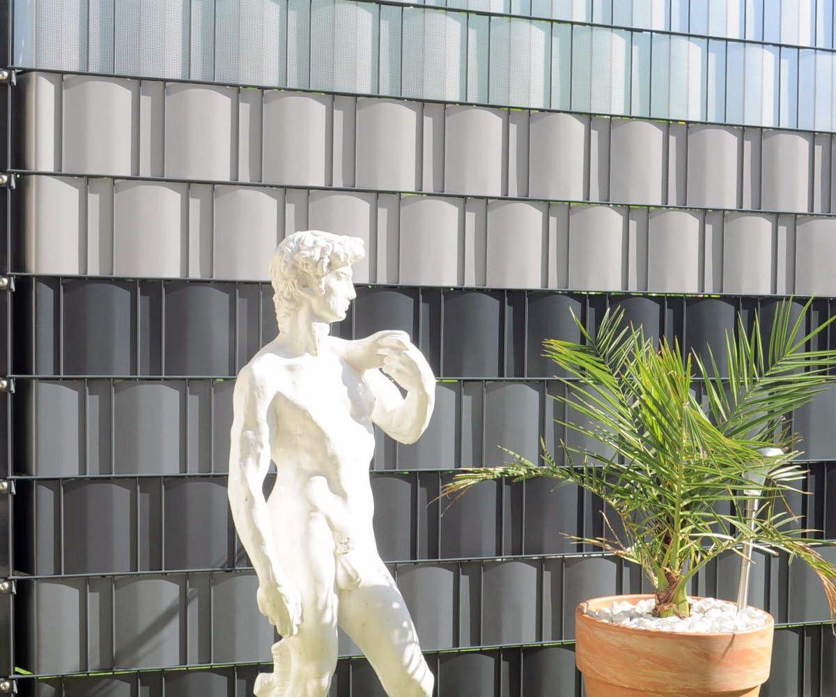 Zaun-Nagel Sichtschutzstreifen Windschutz PVC f/ür Doppelstabzaun Balkon Garten 30 m Silbergrau inkl 12 Clips