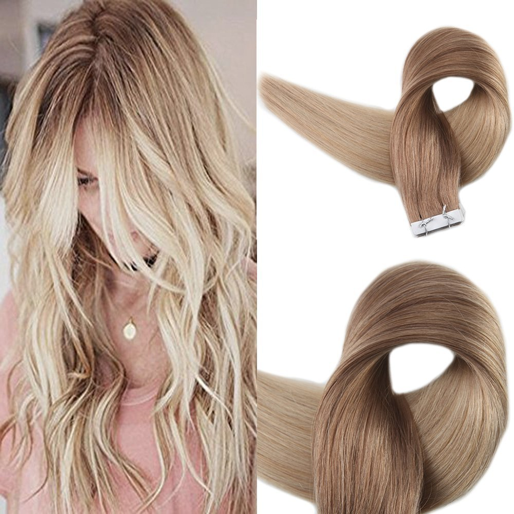 Full Shine 14 inch 50g 20Pcs Per Pack Glue in Real Hair Color in #12 Fading to #24 Balayage Remy Extensions Professional Salon Quality Hair Extensions