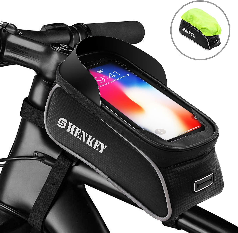 shenkey Bolso Bicicleta, Bolso del Marco de la Bici Bolso Impermeable del teléfono de la Bici de la Pantalla táctil de la manija de la Bicicleta con el Visera del Sol para Debajo DE 6.5