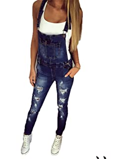 b149a7e8ab6 shopping denim Women s Adjustable Strap Slim Fit Ripped Distressed Stretch  Long Jumpsuit Denim Bib Overalls Romper