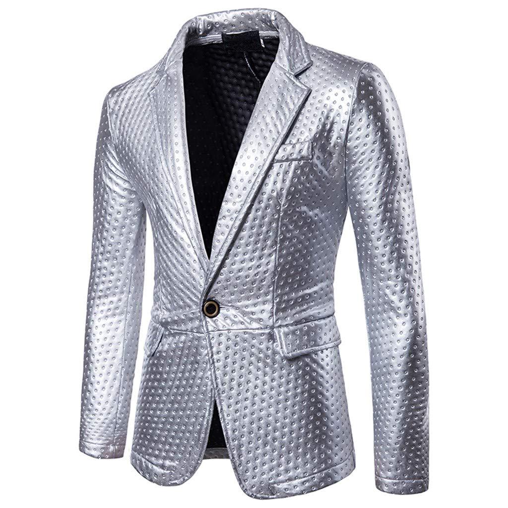 Feifish Blazer - Disfraz para Hombre Brillante de Oro Plateado ...