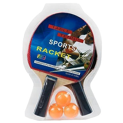 2 raqueta de tenis de mesa Set dos Sided Calidad de goma de madera mango de