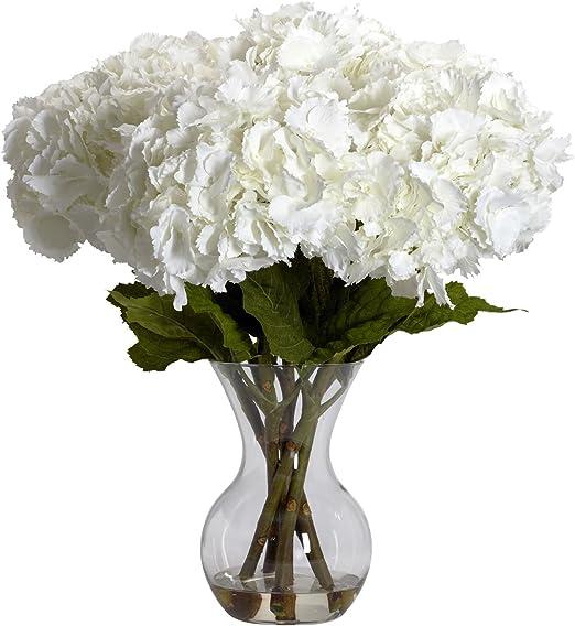 Amazon Com Nearly Natural 1260 Large Hydrangea With Vase Silk Flower Arrangement White Home Kitchen,Kitchen Garden Window Ideas
