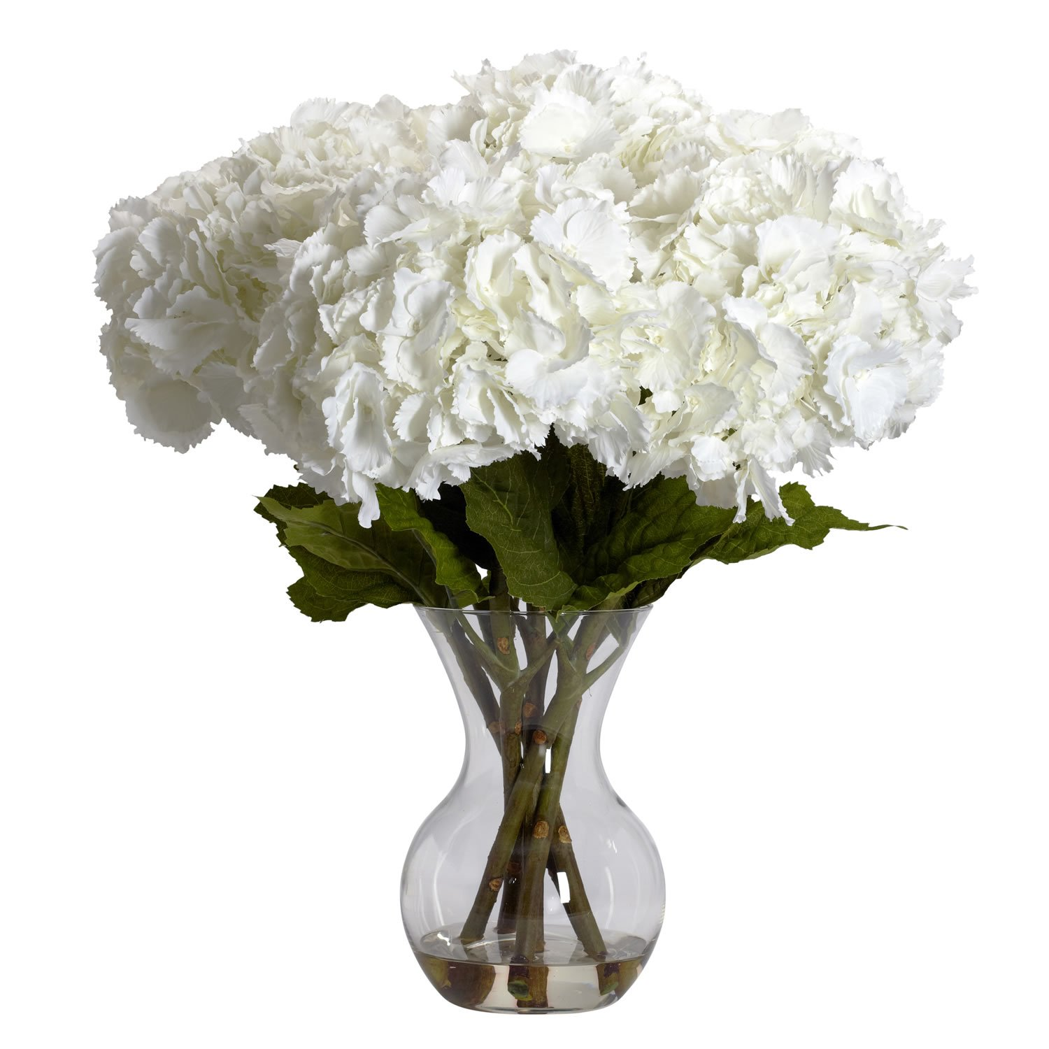 Amazon nearly natural 1260 large hydrangea with vase silk amazon nearly natural 1260 large hydrangea with vase silk flower arrangement white home kitchen izmirmasajfo Images