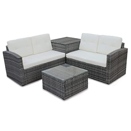Peachy Rhomtree 4 Pcs Patio Sofa Set Outdoor Wicker Rattan Furniture Conversation Set With Storage Cabinet And Coffee Table For Garden Backyard Pool Beige Pdpeps Interior Chair Design Pdpepsorg