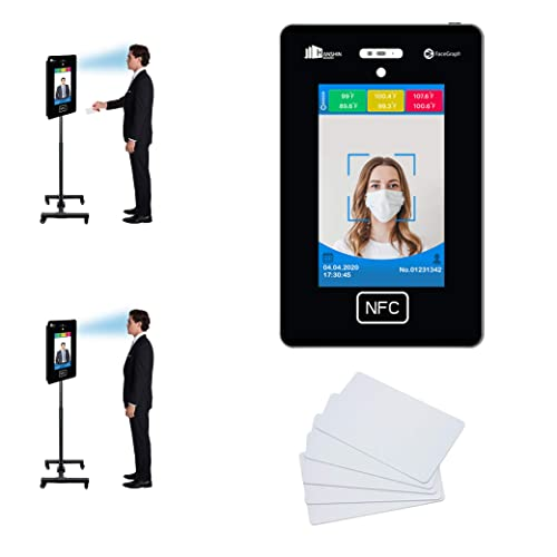 No Contact Temperature Scanner Kiosk Device Attendance Bundle with Adjustable Stand RFID Cards – Facial Recognition Enabled with Phone app Mobile Solid Steel Floor Stand 100 RFID Cards
