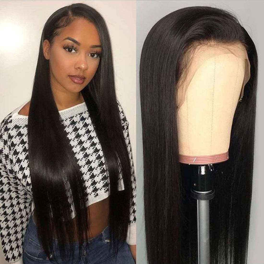 Beauty Forever 13x6 Lace Front Wig Silky Straight Human Hair Wig 150% Density Human Hair Wigs With Baby Hair For Black Women Remy Hair Glueless Lace Front Wig Pre Plucked (18 Inch)