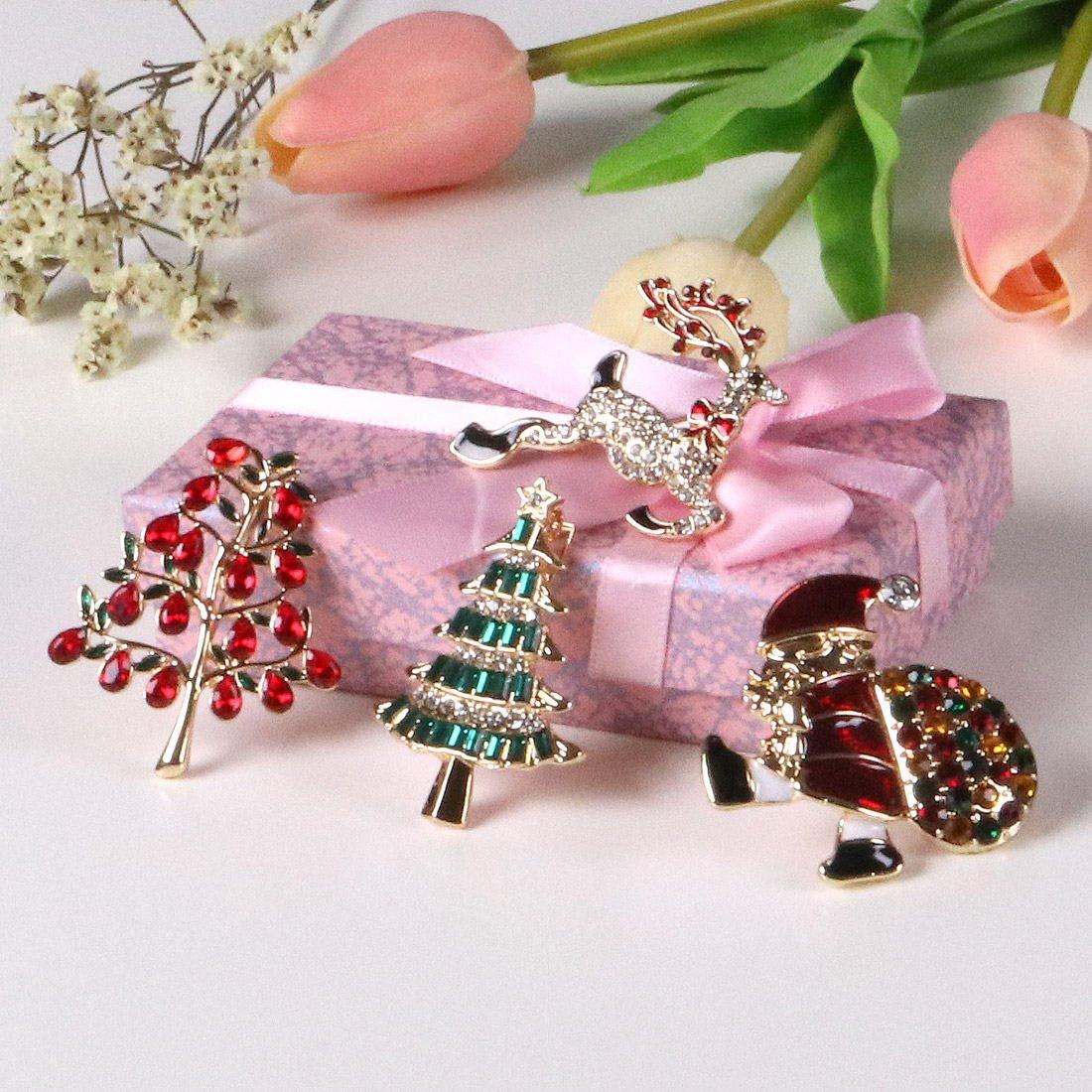 YSD Christmas Brooch Pins set Holiday Brooch Xmas Pin Lot Party Favor set christmas tree pins set by YSD (Image #7)