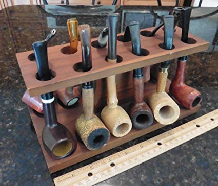 Amazon com : Vintage wooden Pipe Stand w/ 12 Estate find