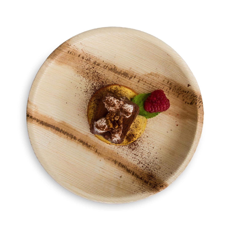 Bio Einweg Geschirr 25 St/ück Palmblattgeschirr /Ø 6 cm kompostierbar umweltfreundlich und stilvoll Einwegteller 100/% biologisch abbaubar HANTERMANN Premium Palmblatt Teller rund