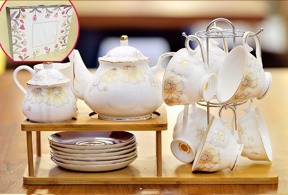 DHG European Tea Set Home Afternoon Tea Set Ceramic Coffee Cup Set English Tea Cup Wedding Gift,A by DHG