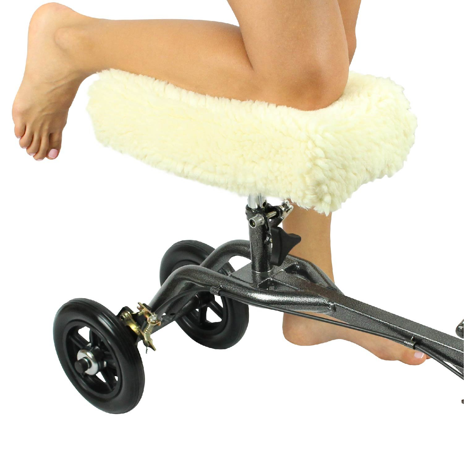 Knee Walker Pad Cover by Vive - Plush Synthetic Faux Sheepskin Sheepette Accessory for Knee Scooter and Roller - Improves Leg Cart Comfort During Injury - Padding Easily Attaches To Most Walkers