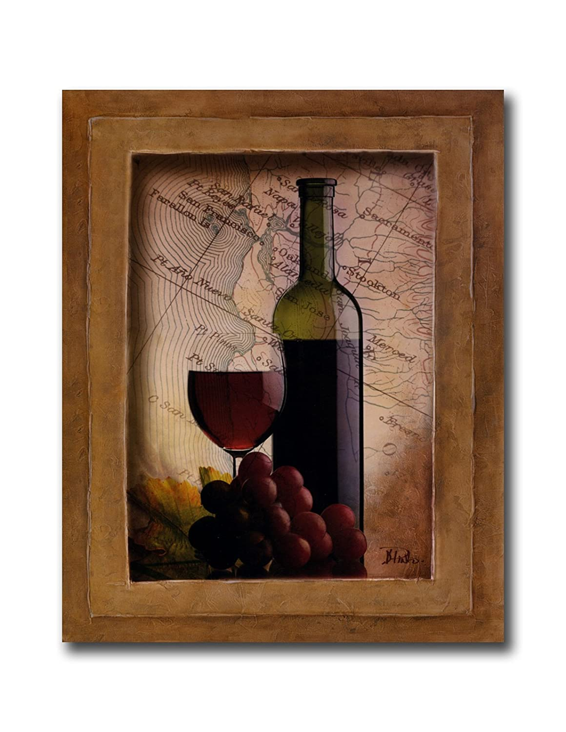 Amazon.com: Red Grapes Wine Glass and Bottle Kitchen Tuscan Wall ...