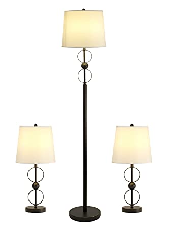 3-Piece Floor Lamp and Table Lamps Set, Modern Lamp Sets of 3 with White  Fabric Shades Metal Floor Lamp and Table Lamp Sets for Living Room,  Bedside, ...