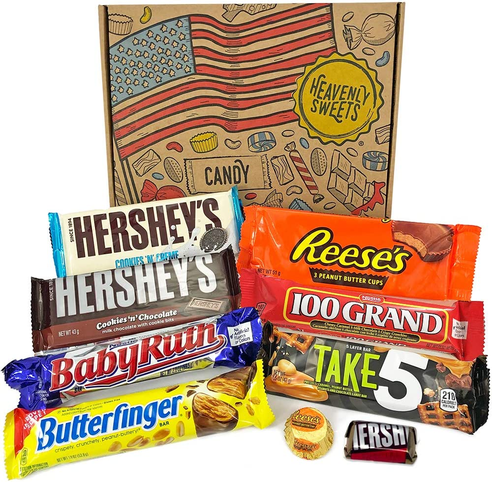 Mini American Chocolate Candy Hamper Box Assortment Includes Reeses Hersheys Butterfinger Baby Ruth Bar American Sweets Taster Selection In A