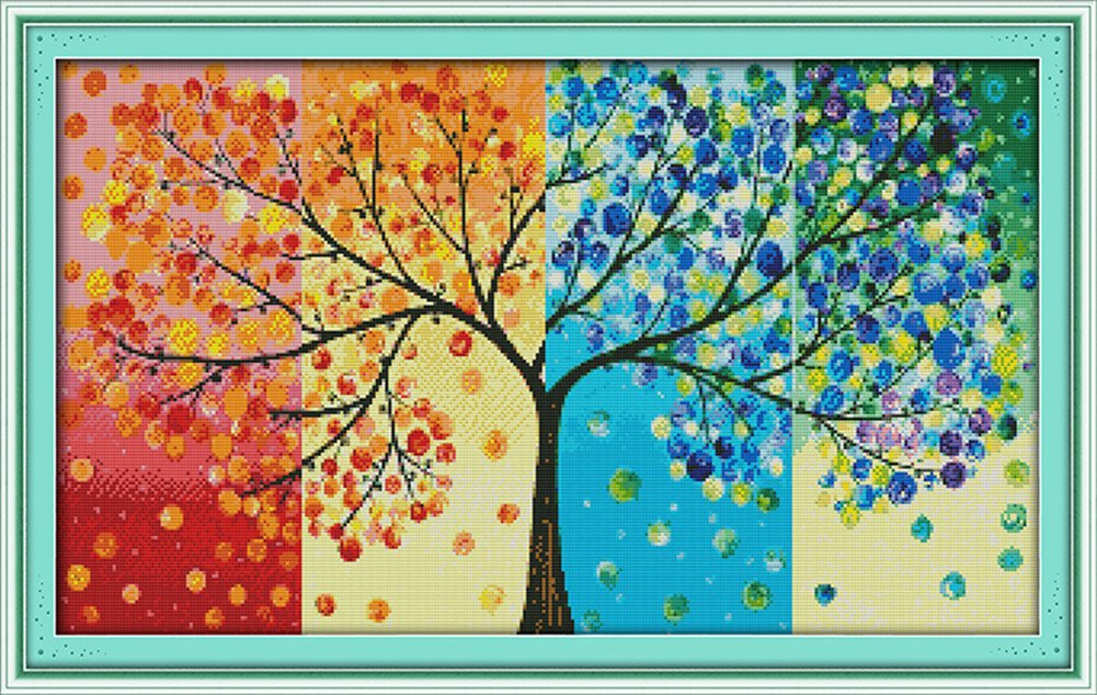 CaptainCrafts Hots Cross Stitch Kits Patterns Embroidery Kit - Four Seasons Money Tree (STAMPED)