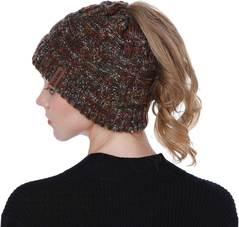 vamei 2 Piezas Gorro de Punto Mujer Sombreros de Invierno Cola de Caballo Gorro Gorro de Punto y el Agujero Mujer Mantener esquí Coleta Hat