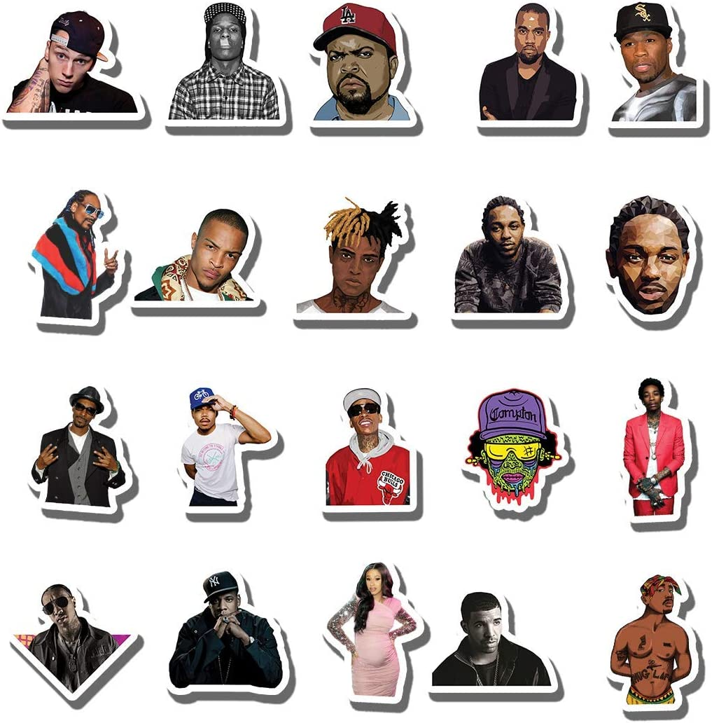 20 PCS Stickers Pack Rapper Aesthetic Vinyl Hip Hop Rhythm - and - Poetry Colorful Hiphop Waterproof for Water Bottle Laptop Luggage Guitar Skateboard