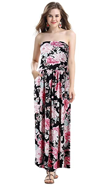 b8dced9b65b Demetory Women Vintage Boho Strapless Floral Print Maxi Prom Long Dress  (Small