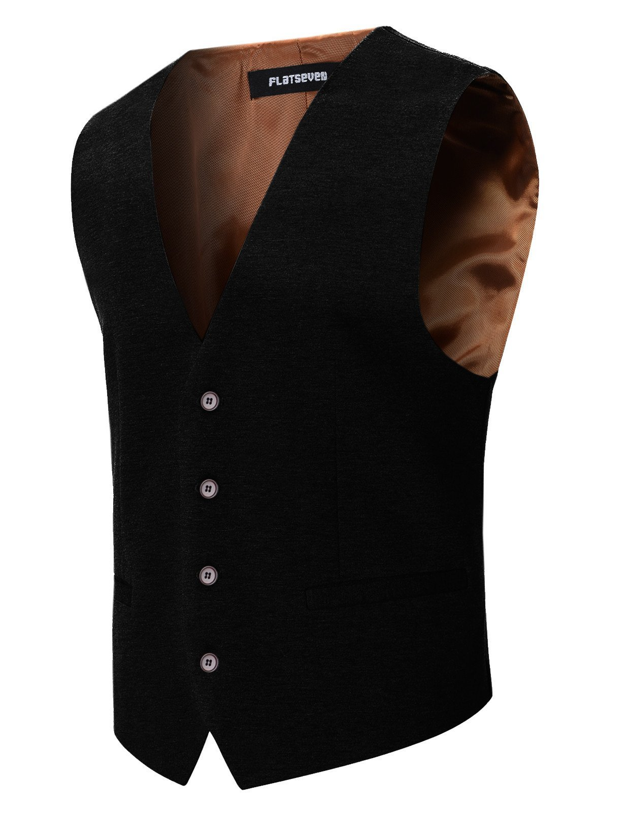 FLATSEVEN Mens Designer Stylish Casual Vest Premium (VE701) Black, XXL