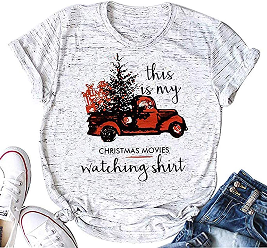 This is My Christmas Movie Watching Shirt for Women Christmas Truck Tree Graphic Shirts Tops