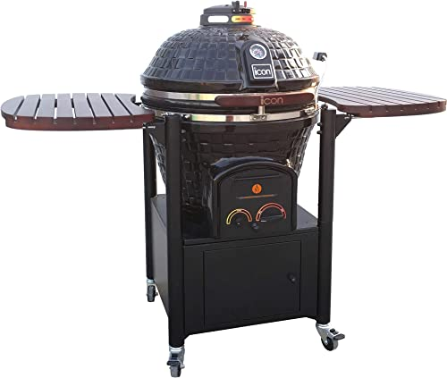 Icon Grills 800 Series 714 Square Inch Charcoal Kamado Grill with Storage, Black