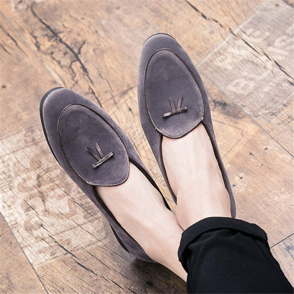 YLY Mens Fashion Oxford Casual Comfortable Vintage Plain Color Simple Slip On Formal Shoes Fashion Slipper
