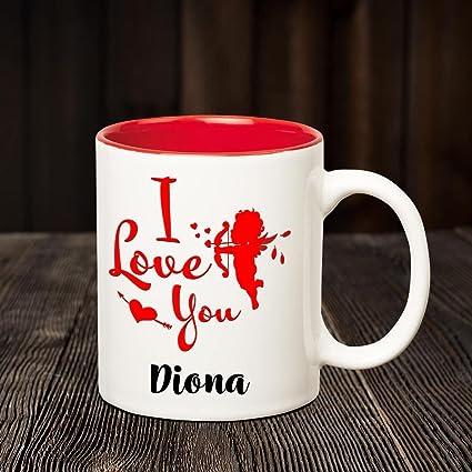 Buy Chanakya I Love you Diona romantic inner red coffee name