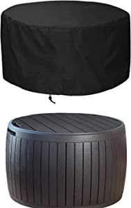 "EPCOVER Patio Deck Box Cover,Round Outdoor Storage Table Cover,to Protect Deck Boxes & Round Outdoor Storage Table 28"" Dia x 18"" H"