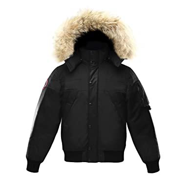 d149e34c418 Triple F.A.T. Goose Ovstyn Mens Leather Panel Down Jacket with Real Coyote  Fur (Black