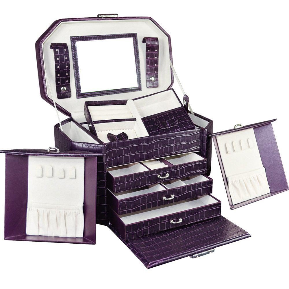 Ikee Design Luxury Leatherette Jewelry Storage Chest Box Organizer Tray with Grape Purple Crocodile Pattern