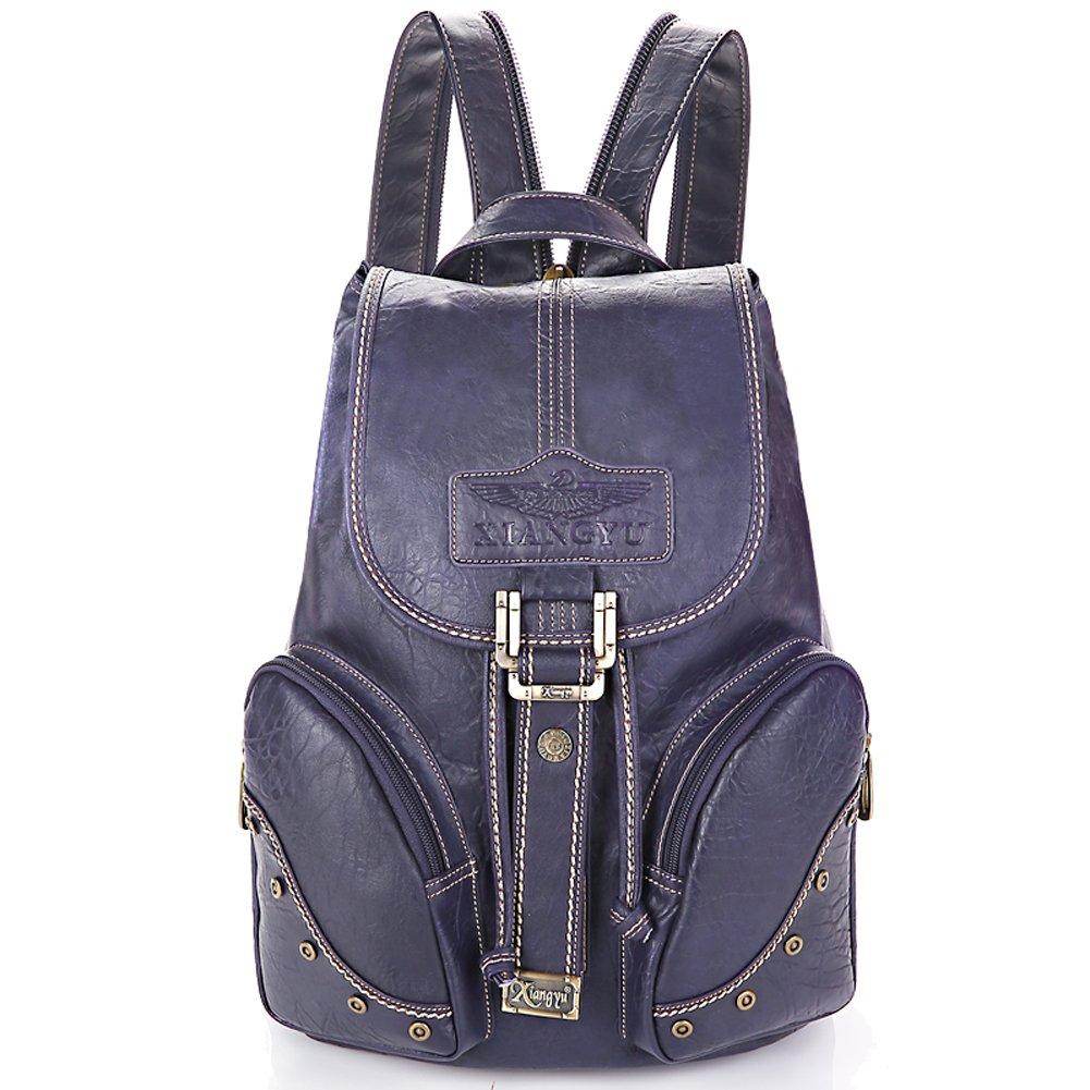 Yaoko Women Fashion college school bag travel backpack (Black) (Purple)