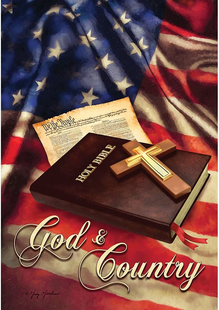 """ God and Country "" - Patriotic - Double Sided, Standard Size, 28 Inch X 40 Inch Decorative Flag"