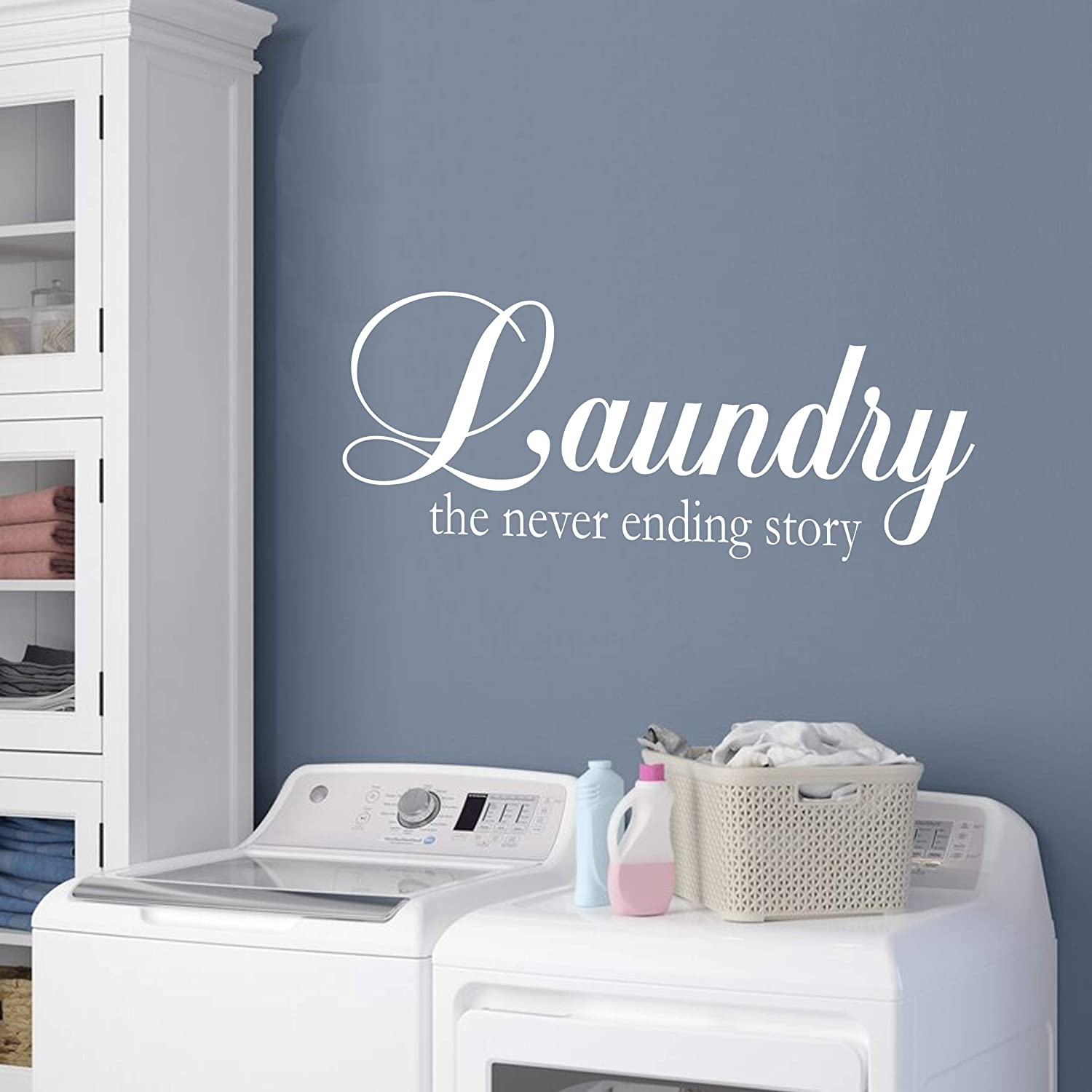 Vinyl Quote Me | Laundry Room Decal Decoration For Walls | Laundry - The Never Ending Story | 22x9 White