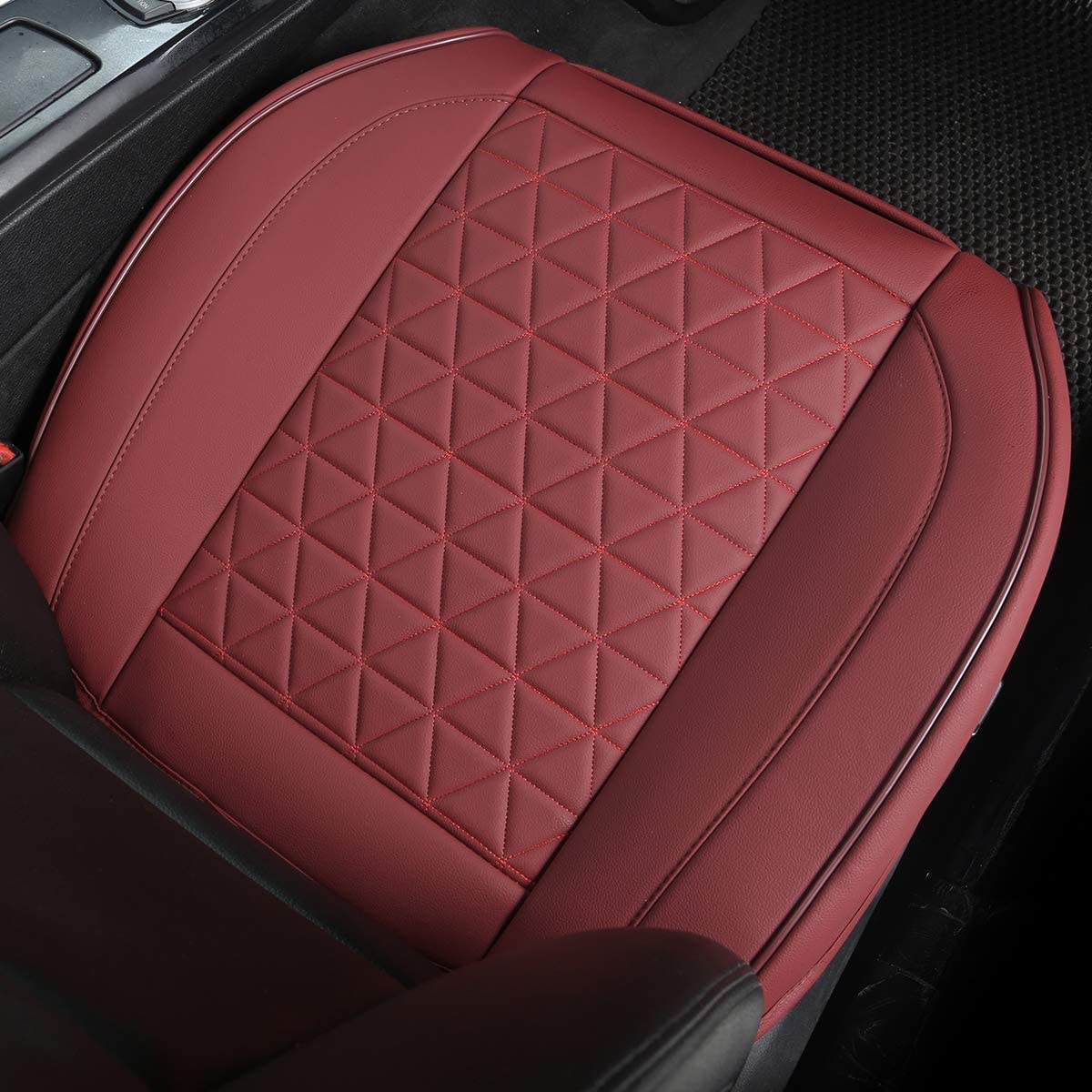 21.26/×20.86 Inches Black Panther 1 Pair Luxury PU Leather Car Seat Covers Protectors for Front Seat Bottoms,Compatible with 90/% Vehicles - Wine Red,Triangle Pattern Sedan SUV Truck Van MPV