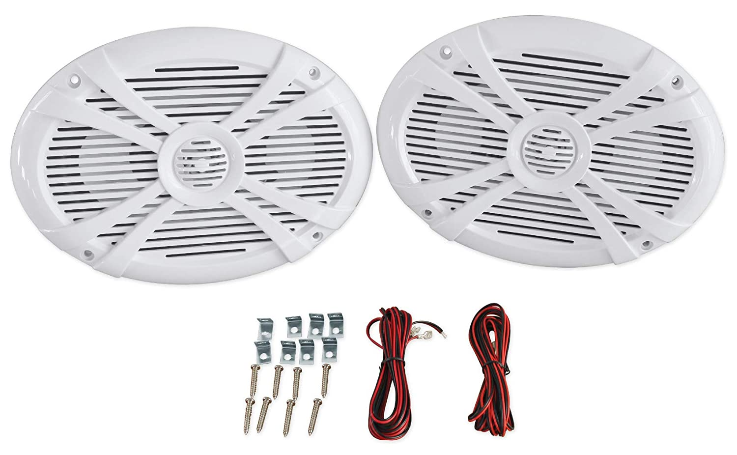 Rockville Rmsts69w Pair 6x9 1000w Waterproof Marine Boat Speakers 2-Way White Audiosavings
