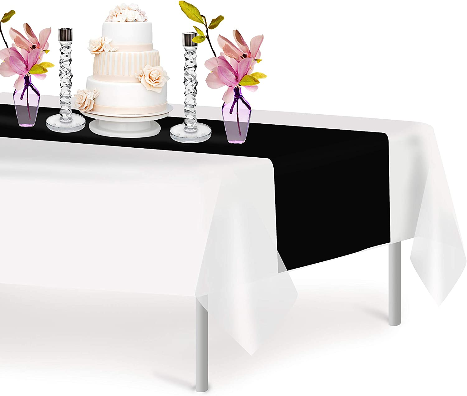Black 6 Pack Premium Disposable Plastic Table Runner 14 x 108 Inch. Decorative Table Runner for Dinner Parties & Events, Decor By Grandipity
