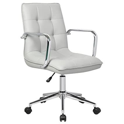 Porthos Home Leona Office Chair Adjustable Height, 360° Swivel, Tufted PU  Leather Upholstery