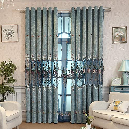 2 Panels Color Villa Upscale Hotel Chenille European Grommet Floral Semi Blackout Curtain Drapes Hollowed Splice Peacock Embroidery Sheer Curtain Window Treatment Set