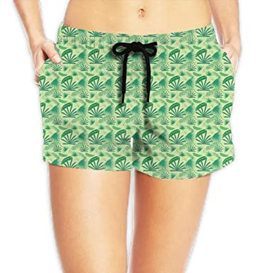 d10d9e6ff9 Victoria III Green Beach Palm Leaf Women's Quick Dry Boardshorts Swimming  Trunks Beach Shorts