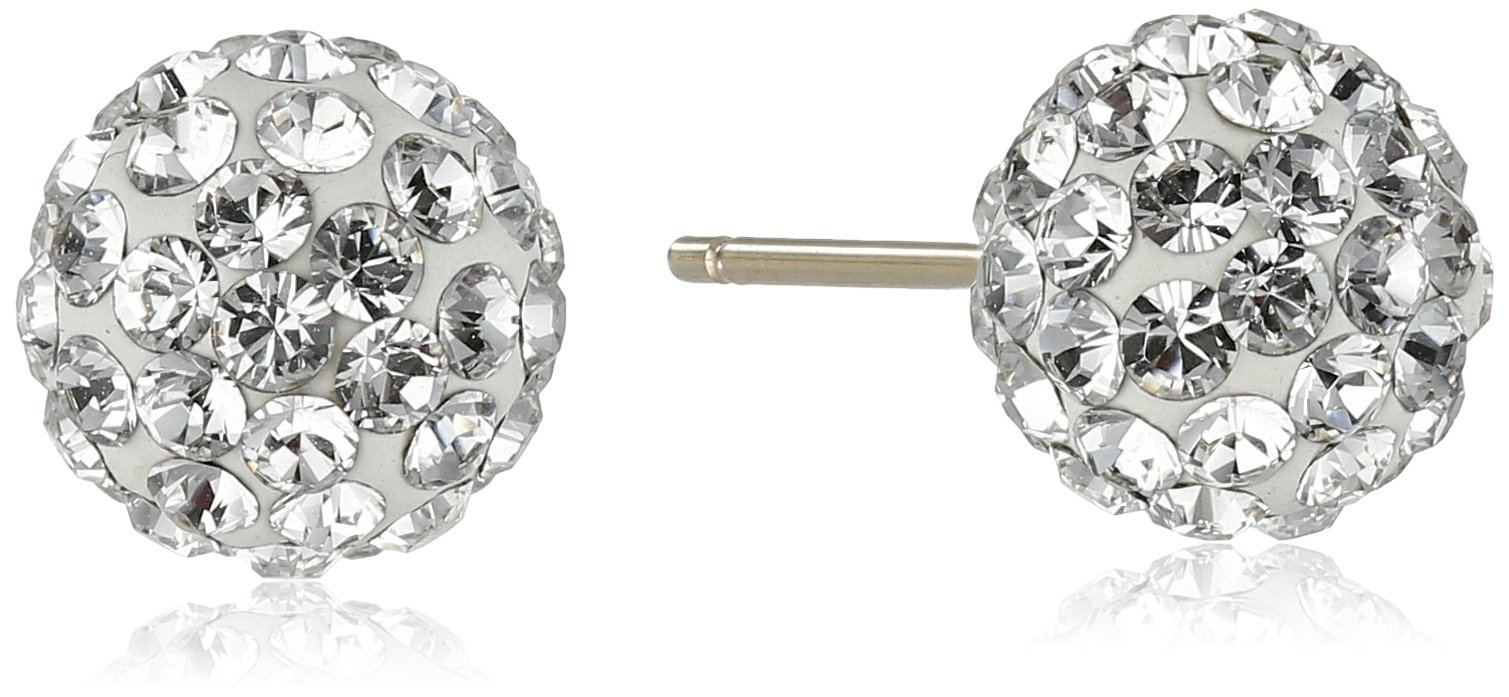 14k Yellow Gold Clear Swarovski Elements Crystal Button Stud Earrings