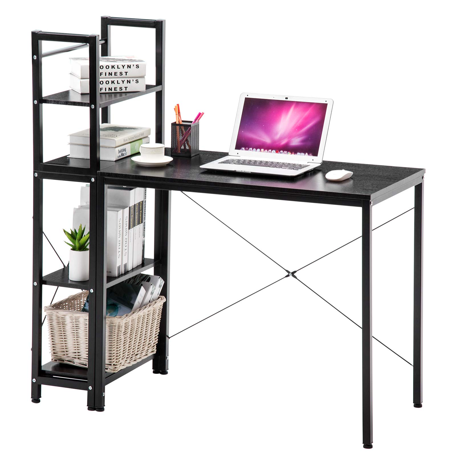 4-EVER Computer Desk with Shelves Modern Style Computer Table Variety of Display Office Table with 4 Tier Bookshelf Study Writing for Home Office Black