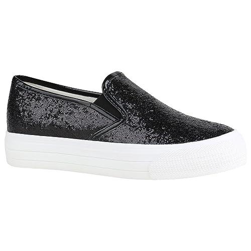 d54c48d6b151ac Damen Plateau Glitzer Slip-Ons Sneakers Modische Slipper 155394 Schwarz  Weiss Glitzer 36 Flandell